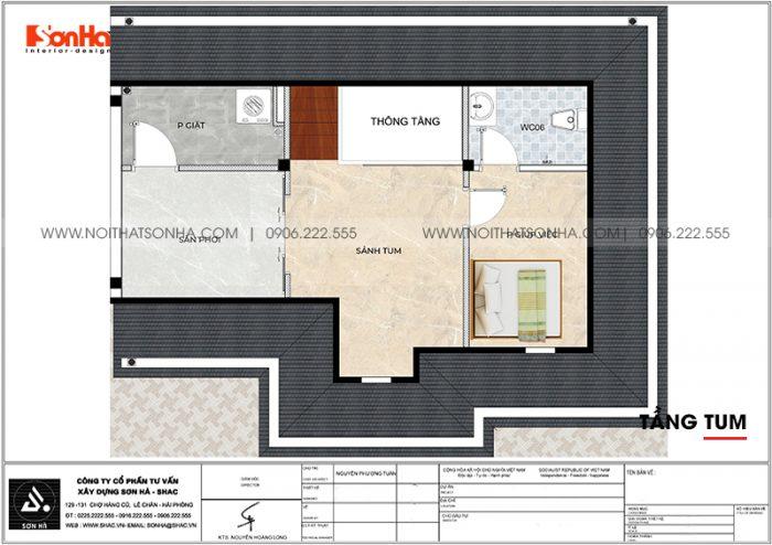 Bản vẽ chi tiết công năng tầng tum biệt thự tân cổ điển diện tích 144m2 (12m x 12m) tại Vinhomes Imperia Hải Phòng