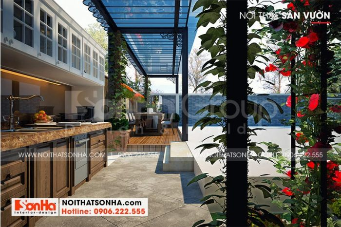 Tiểu cảnh sân vườn kết hợp bếp ăn ngoài trời mang đến không gian thư giãn cho cả gia đình