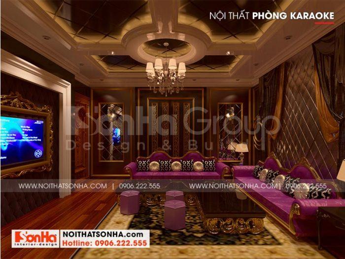 Không gian karaoke của ngôi biệt thự được thiết kế với nội thất cổ điển tuyệt đẹp