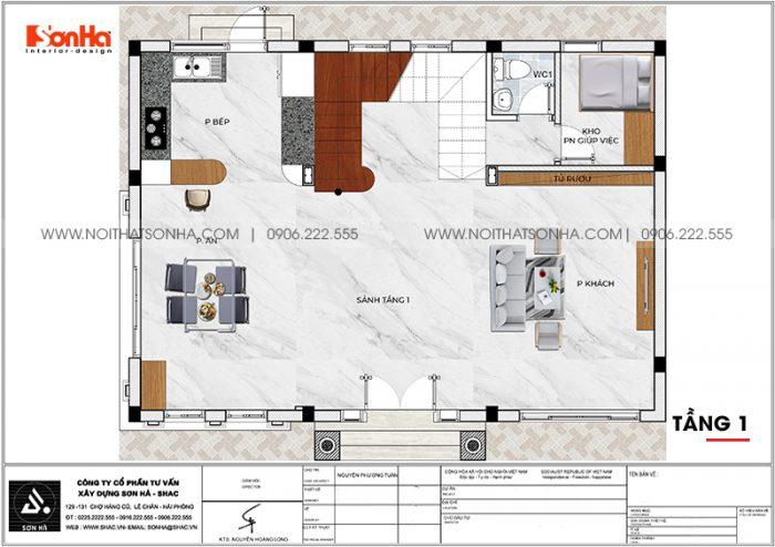 Phương án bố trí công năng tầng 1 biệt thự tân cổ điển Venice Vinhomes Imperia
