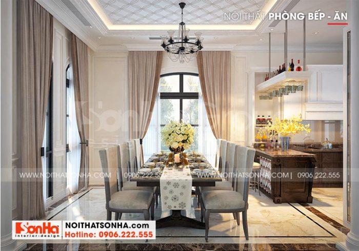 Không gian phòng ăn của biệt thự tân cổ điển tràn ngập ánh sáng với nội thất đầu tư đẹp