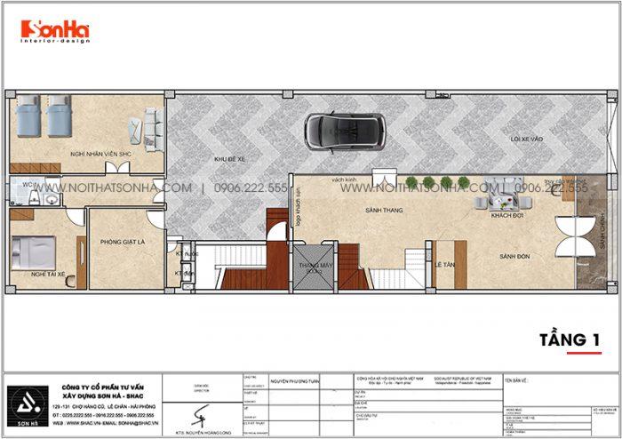 Phương án bố trí công năng tầng 1 khách sạn hiện đại diện tích 300m2 (10m x 30m) tại Bình Dương