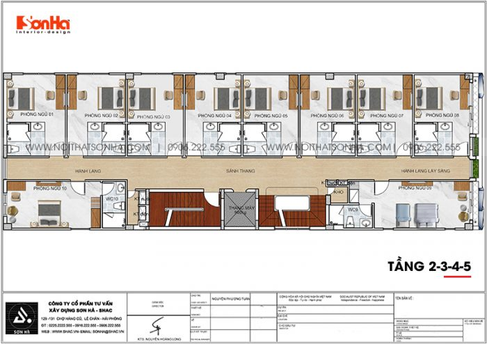 Phương án bố trí công năng tầng 2 đến tầng 5 khách sạn hiện đại diện tích 300m2 (10m x 30m) tại Bình Dương