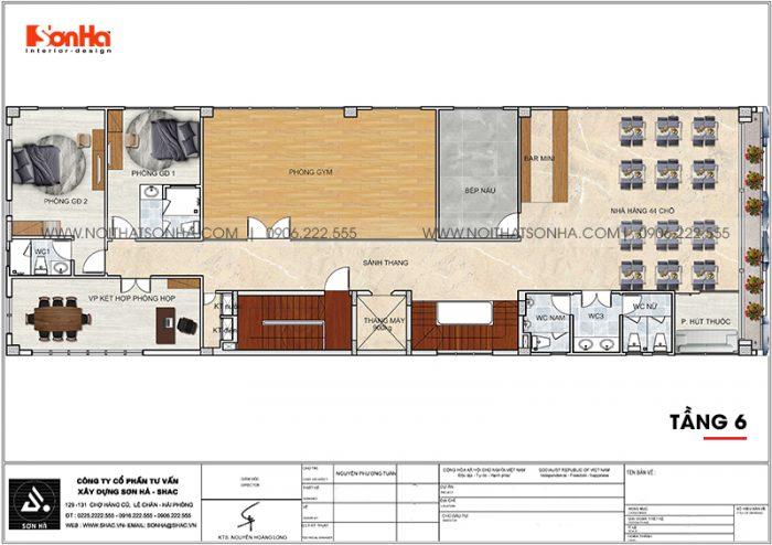 Phương án bố trí công năng tầng 6 khách sạn hiện đại diện tích 300m2 (10m x 30m) tại Bình Dương