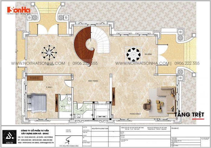 22 Mặt bằng tầng trệt biệt thự lâu đài cổ điển pháp tại long an sh btp 0041