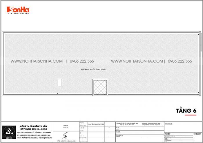 Phương án bố trí công năng tầng mái khách sạn hiện đại diện tích 300m2 (10m x 30m) tại Bình Dương