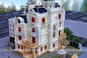 3 Thiết kế biệt thự lâu đài 4 tầng 1 tum tại long an sh btld 0041