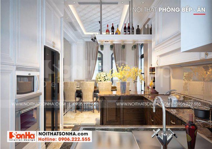 Mẫu thiết kế nội thất phòng bếp với lối bày trí thoáng đãng khoa học tạo không gian sinh hoạt thuận tiện