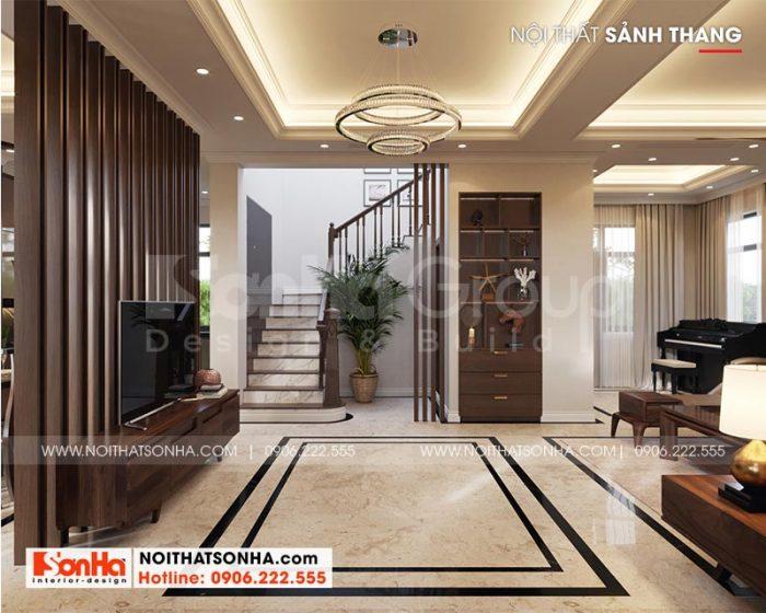 Phương án thiết kế sảnh thang tầng 1 biệt thự song lập phong cách tân cổ điển tại Vinhomes Imperia