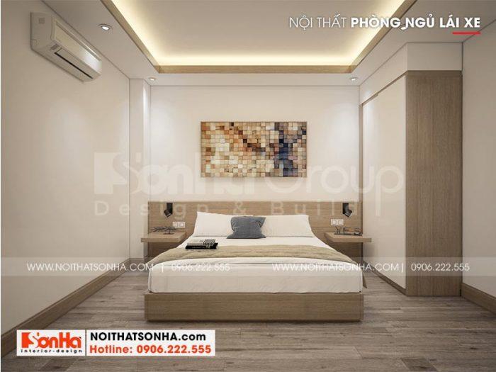 Còn đây là mẫu nội thất phòng ngủ lái xe thiết kế đơn giản mà đẹp