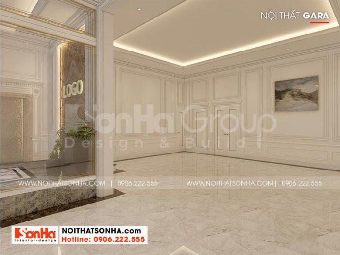 Thiết kế gara rộng rãi tại tầng 1 khách sạn phong cách hiện đại tại Bình Dương
