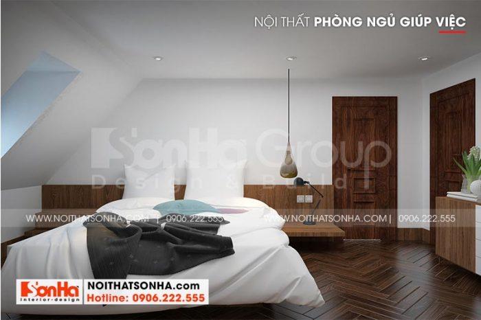 Mẫu phòng ngủ giúp việc thiết kế đẹp, không kém phần tiện nghi
