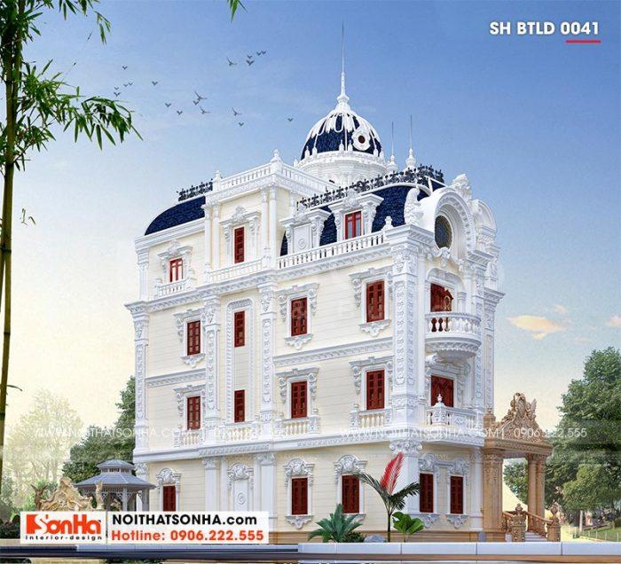Thiết kế kiến trúc mặt bên ngôi biệt thự lâu đài Pháp 4 tầng 1 tum tại TP. Tân An