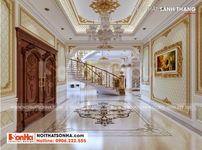 Bố trí sảnh thang tầng 1 rộng rãi, thoáng đãng theo đúng yêu cầu của gia chủ