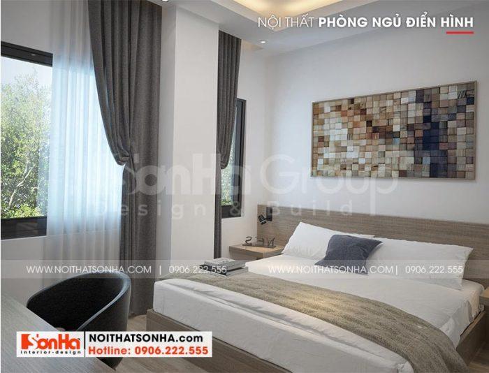 Phương án thiết kế nội thất phòng ngủ khách sạn tiêu chuẩn 2 sao kiến trúc hiện đại đẹp tại Bình Dương được khách hàng yêu thích