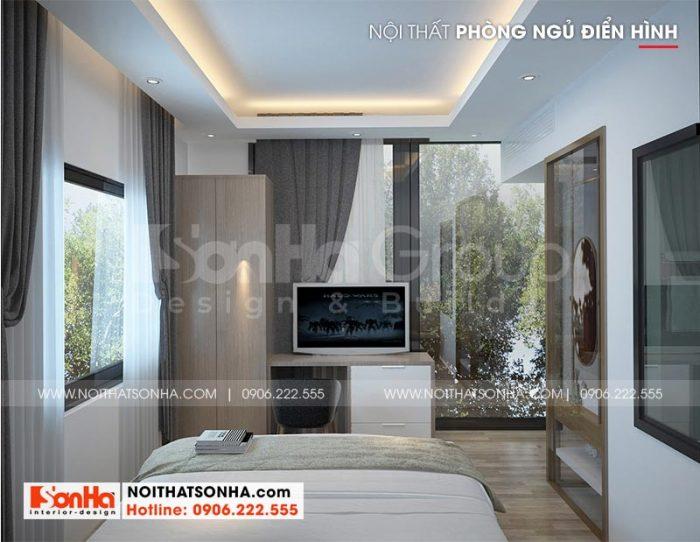 Lối thiết kế mở mang đến cho không gian phòng ngủ khách sạn sự thông thoáng, ngập tràn ánh sáng