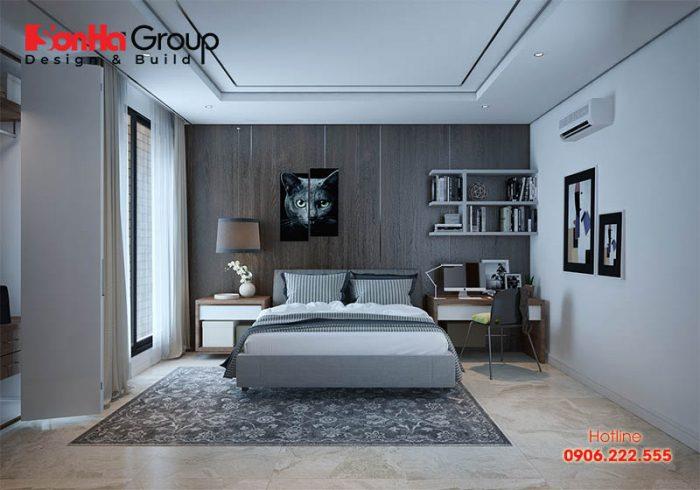 Không gian phòng ngủ con trai rộng rãi được trang bị đầy đủ tiện nghi với độ tuổi trưởng thành ai cũng hài lòng cao