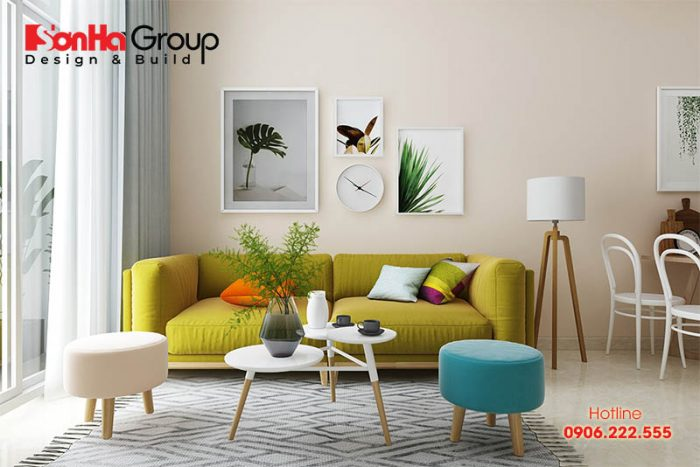 Những gam màu của hành Thổ phù hợp nhất để sơn phòng khách hướng Đông, giúp thu vượng khí cho gia chủ