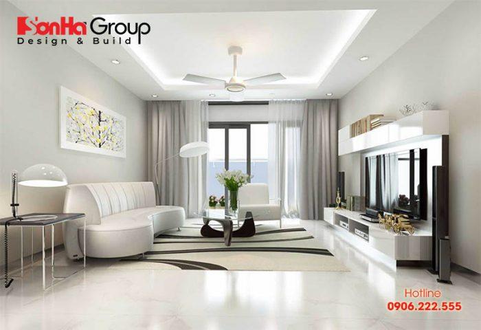 Trang trí phòng khách với gam màu trắng chủ đạo phù hợp với gia chủ mệnh Kim