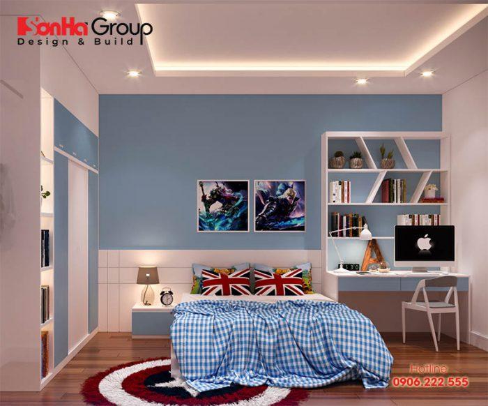Trang trí phòng ngủ con trai cá tính khá ngăn nắp cho việc học tập và nghỉ ngơi