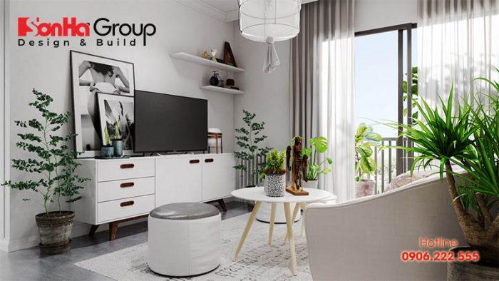 Ý tưởng trang trí phòng khách hướng Nam với tông màu trắng chủ đạo