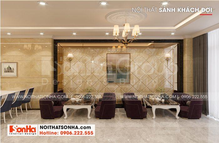 Thiết kế nội thất khu vực chờ của du khách với gam màu trầm ấm áp