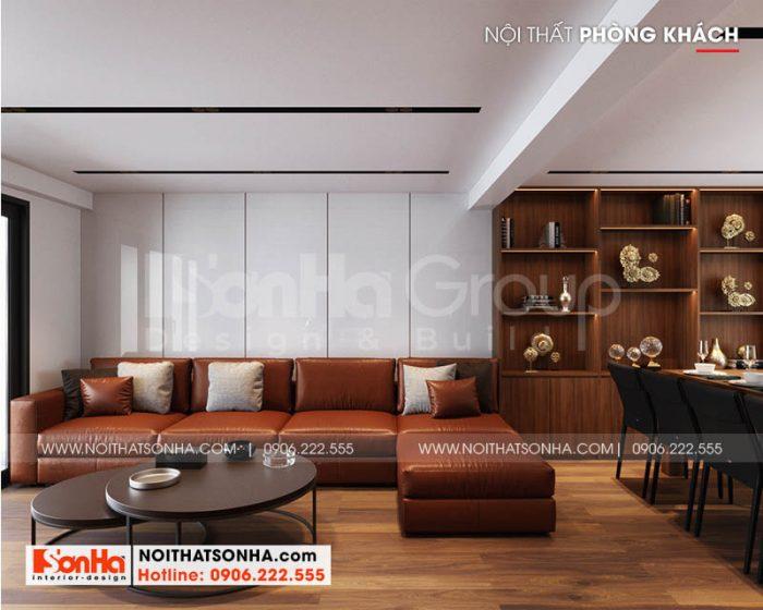 Trang trí nội thất phòng khách hiện đại với vật liệu gỗ tự nhiên