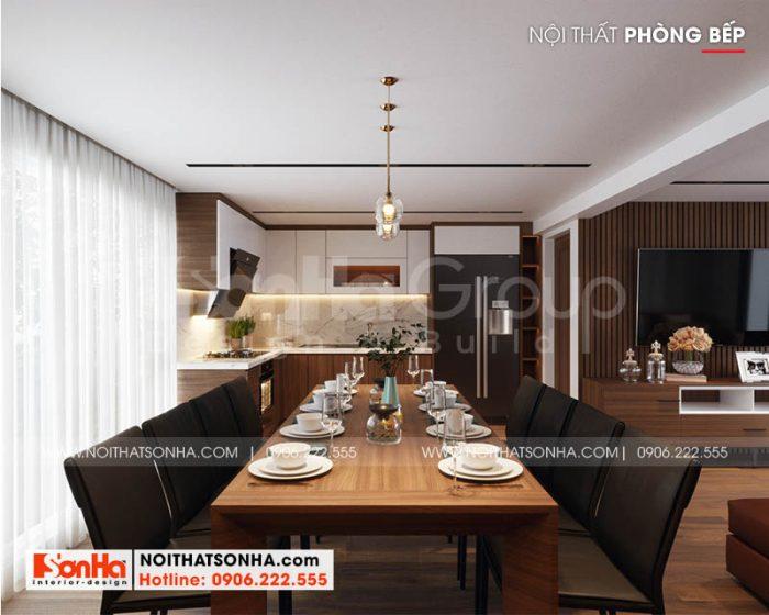 Thiết kế nội thất phòng bếp ăn ấm cúng với nội thất gỗ và gam màu tinh tế