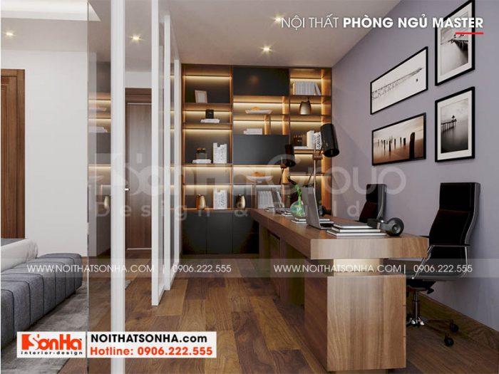 Bố trí nội thất khu vực làm việc trong không gian phòng ngủ master