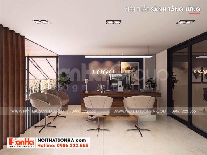 Trang trí nội thất sảnh và quầy lễ tân công ty đẹp ấn tượng