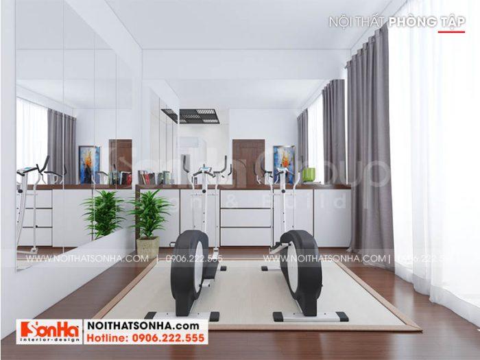 Trang trí nội thất phòng tập phong cách hiện đại với sàn gỗ