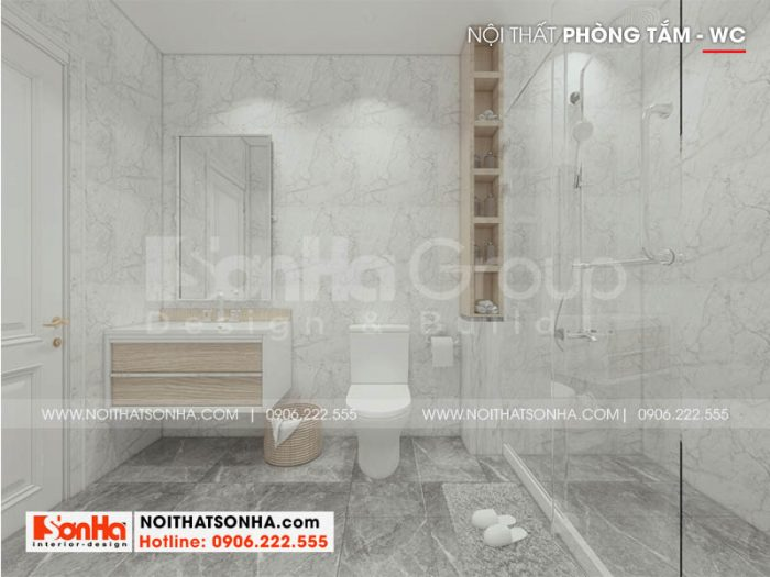 Thiết kế nội thất phòng tắm và vệ sinh phong cách hiện đại cho nhà ống