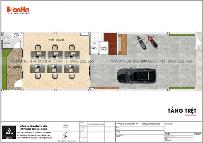 Bố trí công năng tầng trệt nhà ống hiện đại mặt tiền 6m kết hợp văn phòng