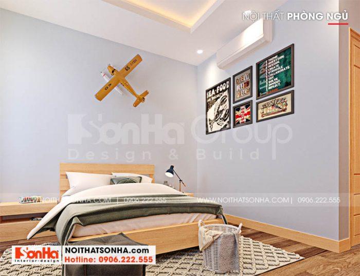 Phòng ngủ cho con trai trong nhà phố Hoàng Huy Mall mặt tiền 5m tại Hải Phòng