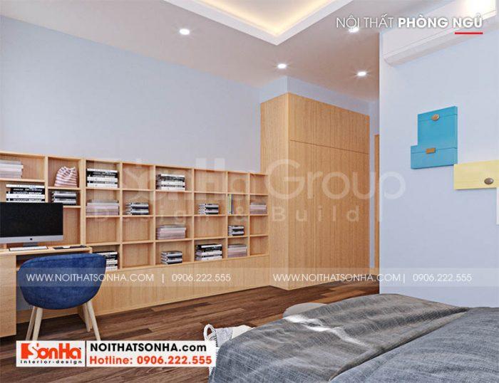 Không gian phòng ngủ 3 trong thiết kế nhà phố hiện đại 68,5m2 tại Hải Phòng