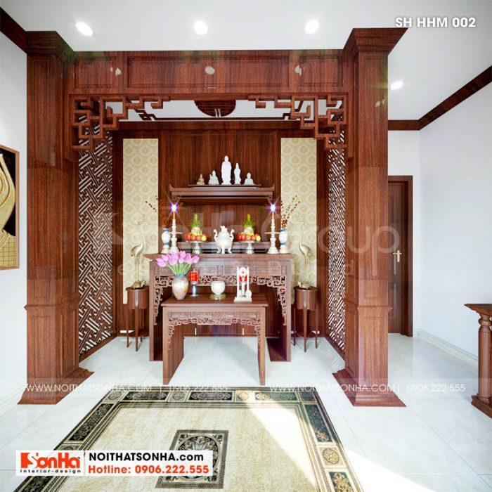 Phòng thờ trong nhà phố hiện đại tại Hoàng Huy Mall 4 tầng Hải Phòng