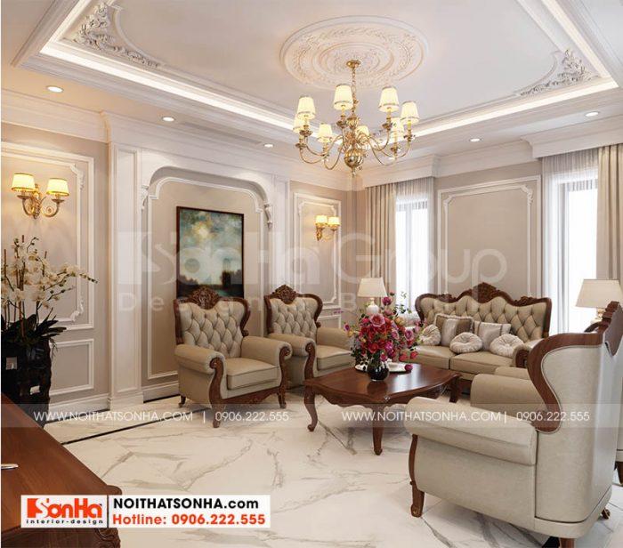 Trang trí nội thất phòng khách đẹp tạo dự án Hoàng Huy Mall Hải Phòng