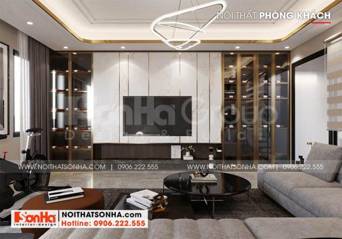Phòng khách tầng 2 sang trọng của nhà phố Hoàng Huy Mall tại Hải Phòng