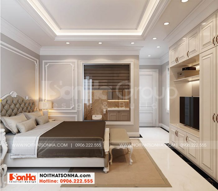 Bố trí nội thất phòng ngủ master trang trọng tại Hoàng Huy