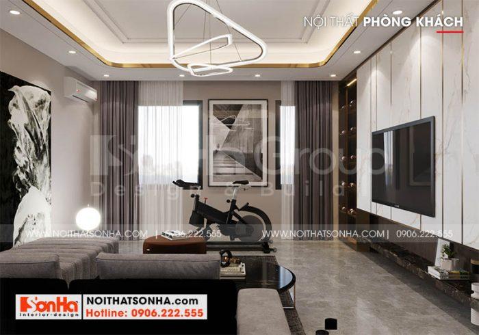 Thiết kế phòng khách nhà phố Hoàng Huy Mall diện tích 68,5m2 tại Hải Phòng