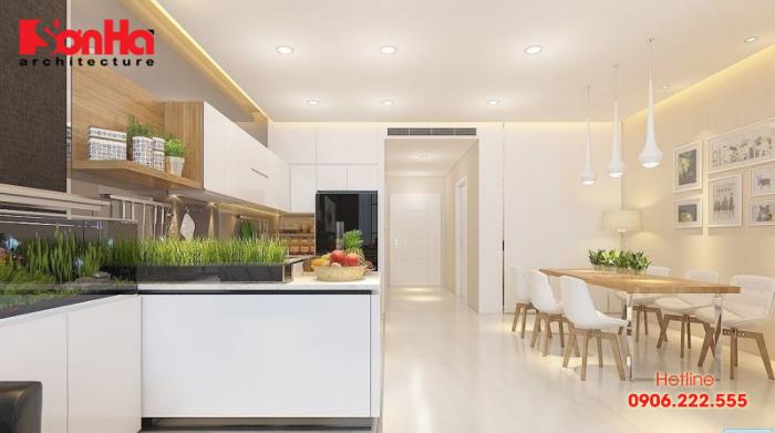 Thiết kế bếp chung cư phong cách hiện đại nổi bật với gam màu ấn tượng