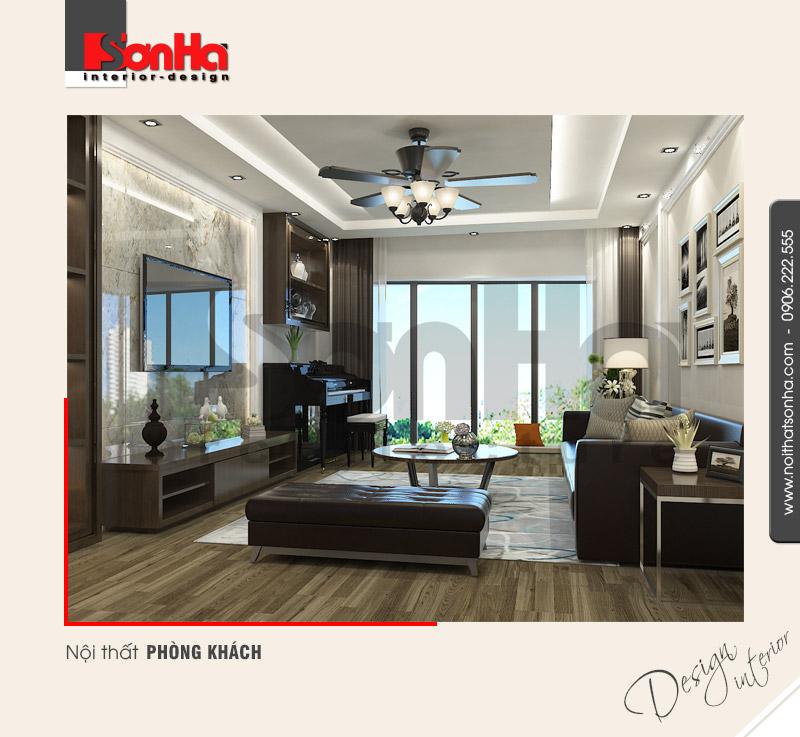 1.Thiết kế nội thất phòng khách đẹp cho nhà ống