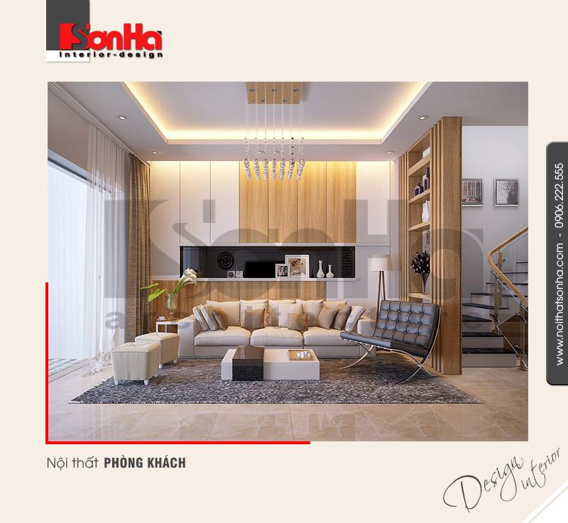 1.Thiết kế nội thất phòng khách nhà ống hiện đại sang trọng