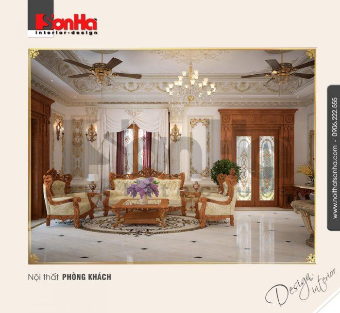 1.Thiết kế trang trí nội thất phòng khách cổ điển đẹp NT BTP 0094