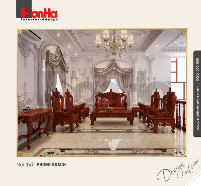 3.Thiết kế nội thất biệt thự cổ điển cao cấp dành cho phòng khách tầng 2 đẹp tinh tế