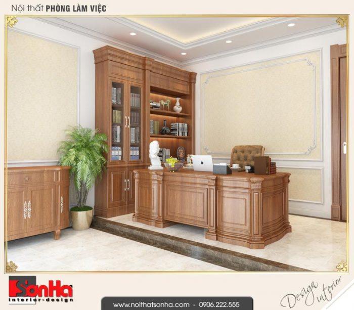 11 Thiết kế nội thất phòng làm việc biệt thự tân cổ điển khu đô thị vinhomes hải phòng