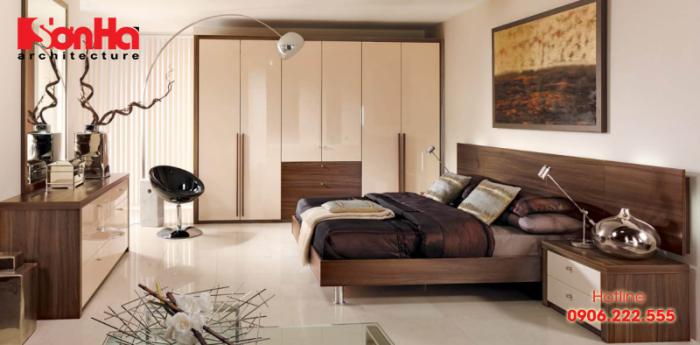 Thiết kế phòng ngủ hiện đại với gam màu trầm ấm bố trí vệ sinh khép kín tiện nghi