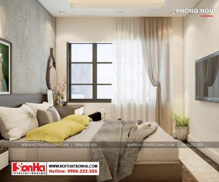 Thiết kế nội thất phòng ngủ căn hộ dù diện tích không lớn nhưng thoáng đãng