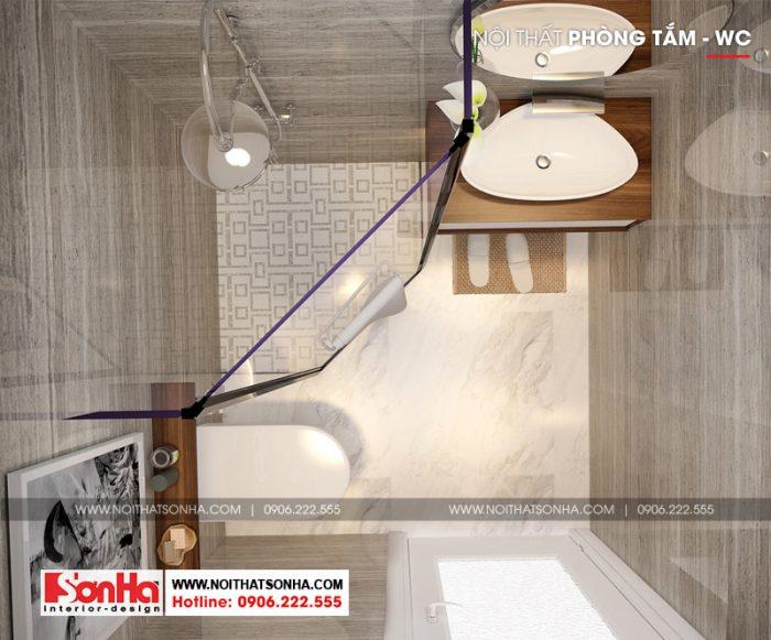 Phòng tắm và vệ sinh căn hộ ấn tượng với gạch ốp lát màu sắc hợp thời
