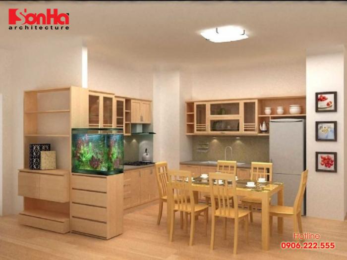 Căn bếp nhỏ nhắn xinh xắn với đồ nội thất gỗ công nghiệp